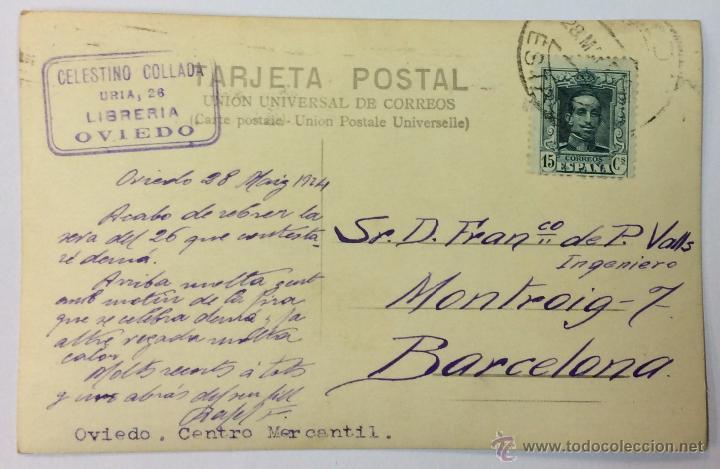 Postales: OVIEDO. CENTRO MERCANTIL. POSTAL FOTOGRÁFICA (CELESTINO COLLADA). CIRCULADA EN 1924. - Foto 2 - 53610841