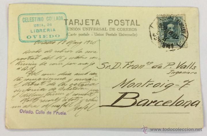 Postales: OVIEDO. CALLE DE FRUELA. POSTAL FOTOGRÁFICA (CELESTINO COLLADA). CIRCULADA EN 1926 - Foto 2 - 53611283