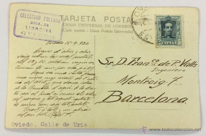 Postales: OVIEDO. CALLE DE URIA. POSTAL FOTOGRÁFICA (CELESTINO COLLADA). CIRCULADA EN 1924. - Foto 2 - 53611368