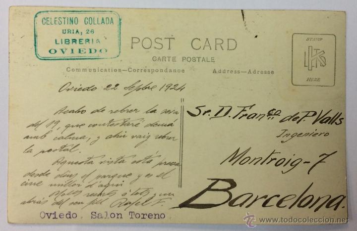 Postales: OVIEDO. SALON TORENO. POSTAL FOTOGRÁFICA (CELESTINO COLLADA). CIRCULADA EN 1924. - Foto 2 - 53611586