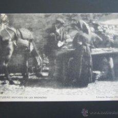 Postales: POSTAL ASTURIAS. MERCADO DE LES MADREÑES. LIBRERÍA ESCOLAR OVIEDO. HAUSER Y MENET. . Lote 54781281