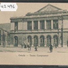 Postales: OVIEDO - TEATRO CAMPOAMOR - REVERSO SIN DIVIDIR - (42.496). Lote 56128779