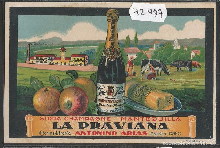 CORIAS DE PRAVIA - LA PRAVIANA- PUBLICIDAD - ANTONINO ARIAS -SIDRA -MANTEQUILLA - (42.497) (Postales - España - Asturias Antigua (hasta 1.939))