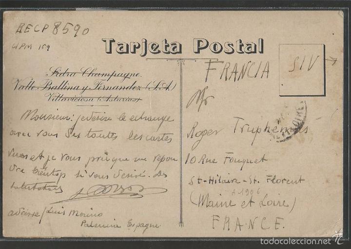 Postales: VILLAVICIOSA - PUBLICIDAD -VALLE VALLINA Y FERNANDEZ -SIDRA - (42.498) - Foto 2 - 56128950