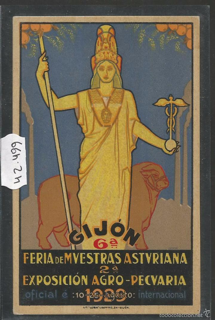 GIJON - FERIA DE MUESTRAS ASTURIANA - 1929 - PUBLICIDAD - (42.499) (Postales - España - Asturias Antigua (hasta 1.939))