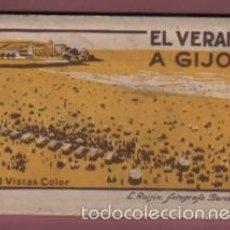 Postales: BLOCK 10 POSTALES - TIPO ACORDEÓN - EL VERANO EN GIJÓN - ASTURIAS - EDITA L. ROISIN. Lote 236429965