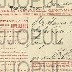 Postales: GIJON. ASTURIAS. TARJETA PUBLICIDAD FIESTAS CENTENARIO JOVELLANOS. TOROS. 1911. ORIGINAL. Lote 56692878