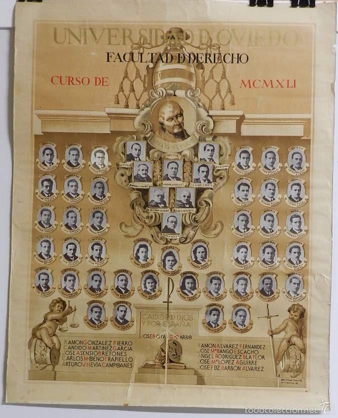 ANTIGUA Y EXCEPCIONAL ORLA FACULTAD DERECHO DE OVIEDO, MENCION A LOS CAIDOS EN LA GUERRA CIVIL, POR (Postales - España - Asturias Antigua (hasta 1.939))