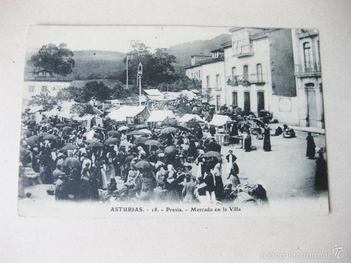 POSTAL DE PRAVIA. MERCADO EN LA VILLA. ASTURIAS (Postales - España - Asturias Antigua (hasta 1.939))