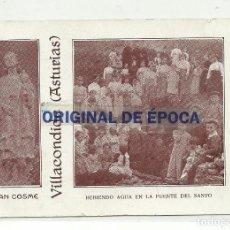 Postales: (PS-50075)POSTAL DE VILLACONDIDE-SAN COSME.BEBIENDO AGUA EN LA FUENTE DEL SANTO. Lote 64603331