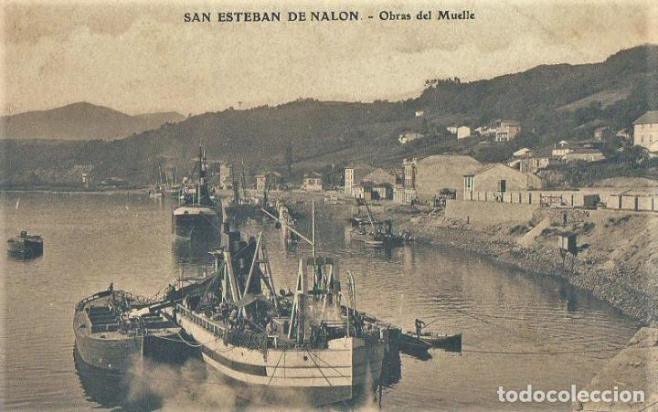 SAN ESTEBAN DE NALON -OBRAS DEL PUERTO .SIN CIRCULAR (Postales - España - Asturias Antigua (hasta 1.939))