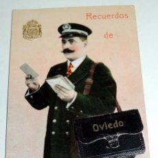 Postales: POSTAL RECUERDO DE OVIEDO, CARTERO REPARTIENDO EL CORREO, CON CUATRO VISTAS DE OVIEDO EN EL INTERIOR. Lote 68848485
