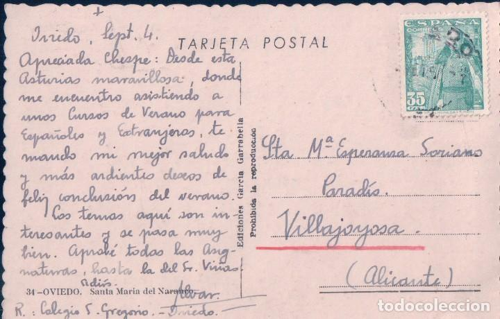 Postales: POSTAL OVIEDO - SANTA MARÍA DEL NARANCO - EDIC. GARCÍA GARRABELLA 34 - CIRCULADA - Foto 2 - 74260231