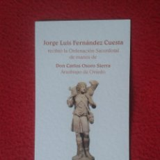 Postales: TARJETA RELIGIOSA ORDENACION SACERDOTAL A MANOS DE DON CARLOS OSORO SIERRA ARZOBISPO OVIEDO. NAVIA . Lote 75025971
