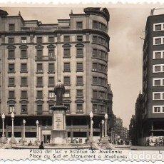 Cartes Postales: GIJÓN - 8 PLAZA DEL SUR Y ESTATUA DE JOVELLANOS. Lote 83158740