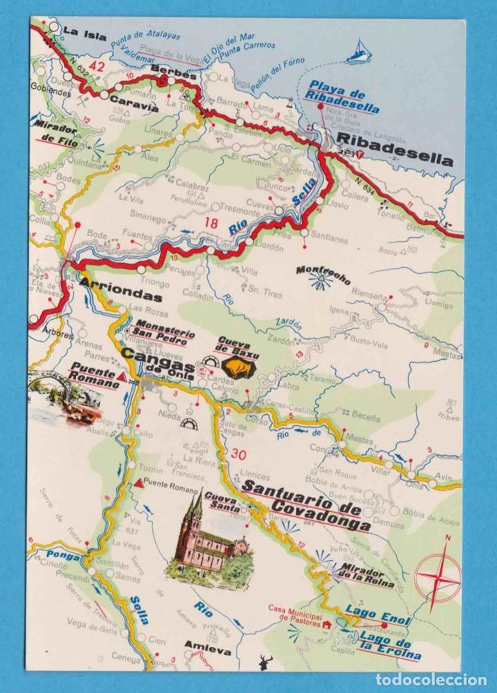 Mapa Costa De Asturias.Mapa Turistico Costa Verde Postales Turisticas Firestone 1968 No Circulada