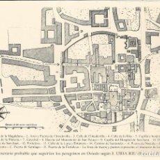 Cartes Postales: PLANO DE OVIEDO (1777) ITINERARIO QUE SEGUIRÍAN LOS PEREGRINOS SEGÚN J.URIA RIU - DORSO EN BLANCO. Lote 86287776