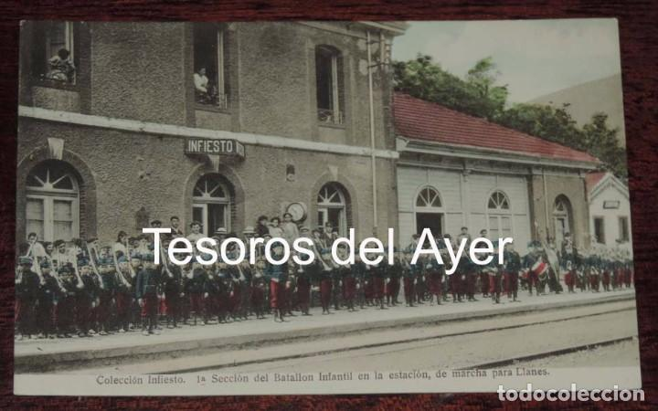 POSTAL DE LA ESTACION DE TREN DE INFIESTO, ASTURIAS, 1ª SECCION DE BATALLON INFANTIL DE MARCHA PARA (Postales - España - Asturias Antigua (hasta 1.939))