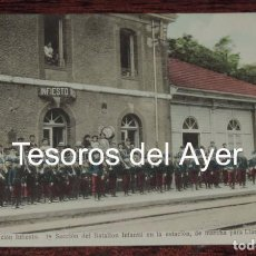 Postales: POSTAL DE LA ESTACION DE TREN DE INFIESTO, ASTURIAS, 1ª SECCION DE BATALLON INFANTIL DE MARCHA PARA . Lote 87292716