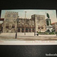 Postales: GIJON ASTURIAS ESTATUA DE PELAYO Y PLAZA DEL MARQUES ED. PURGER 3814 REVERSO SIN DIVIDIR. Lote 96661339