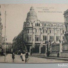 Postales: OVIEDO. BANCO HERRERO Y CALLE FRUELA. LIBRERÍA ESCOLAR. FOTOTIPIA DE HAUSER Y MENET . Lote 97077867