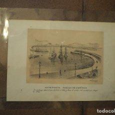 Postales: ANTE-PUERTO, MUELLE DE LEQUÉRICA. GIJON. ASTURIAS. AÑO 1884. GRABADO. Lote 97119191