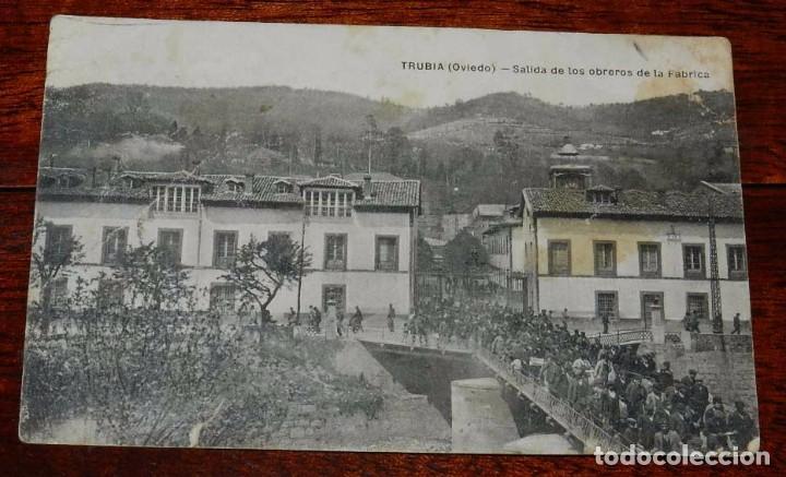 POSTAL DE TRUBIA, OVIEDO, SALIDA DE LOS OBREROS DE LA FABRICA DE ARMAS, ED. M.G. OVIEDO, CIRCULADA. (Postales - España - Asturias Antigua (hasta 1.939))