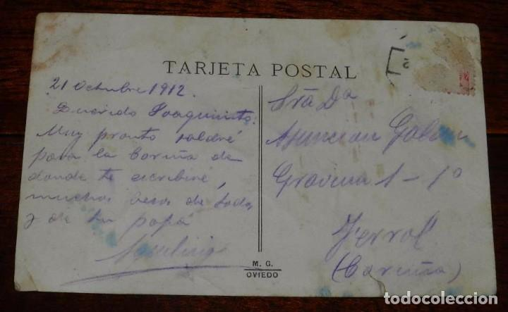 Postales: POSTAL DE TRUBIA, OVIEDO, SALIDA DE LOS OBREROS DE LA FABRICA DE ARMAS, ED. M.G. OVIEDO, CIRCULADA. - Foto 2 - 100741231
