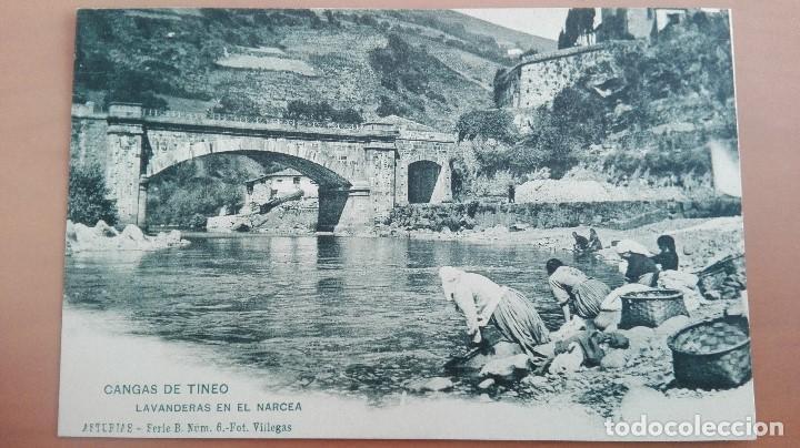 POSTAL ASTURIAS SERIE B Nº 6 FOT VILLEGAS CANGAS DE TINEO LAVANDERAS EN EL NARCEA REVERSO SIN DIVIDI (Postales - España - Asturias Antigua (hasta 1.939))