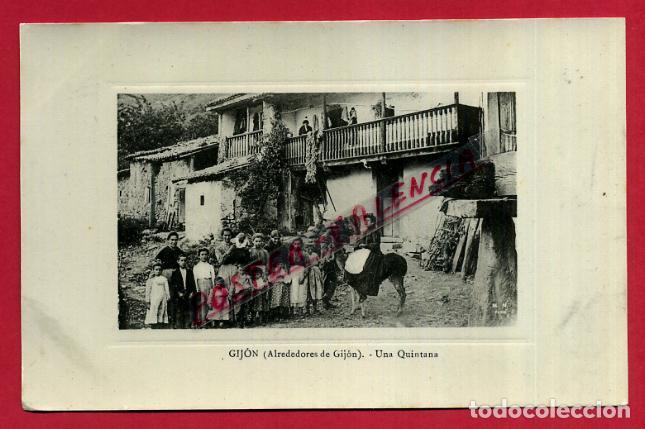 POSTAL GIJON , ALREDEDORES , UNA QUINTANA , ORIGINAL , P87998 (Postales - España - Asturias Antigua (hasta 1.939))