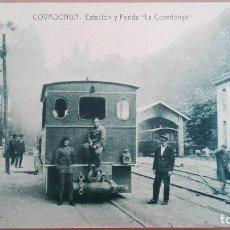 Postales: POSTAL ASTURIAS COVADONGA ESTACION Y FONDA - TRANVIA TREN FERROCARRIL PRIMER PLANO, ED VDA M. GUSANO. Lote 105792791