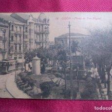 Postales: TARJETA POSTAL. 16. GIJON. PLAZA DE SAN MIGUEL. F. MATOS. Lote 106831527