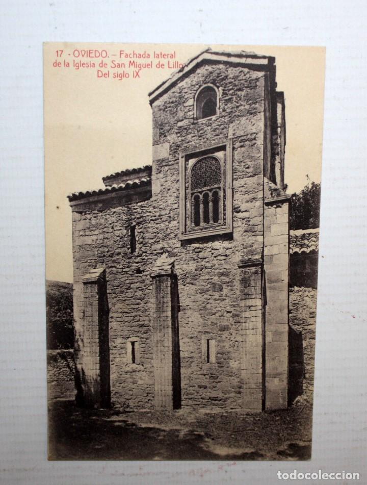 ANTIGUA POSTAL DE OVIEDO. ASTURIAS. FACHADA DE LA IGLESIA DE SAN MIGUEL DE LILLO(S.IX). SIN CIRCULAR (Postales - España - Asturias Moderna (desde 1.940))