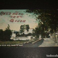 Postales: GIJON ASTURIAS VISTA DE UN HOTEL CAMINO DE SOMIÓ ED. BENIGNO FERNANDEZ ESCRITA EN 1908. Lote 109405307