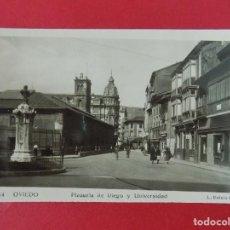Postales: ANTIGUA POSTAL DE OVIEDO - PLAZUELA DE RIEGO Y UNIVERSIDAD - FOTO L. ROISIN .... R-8230. Lote 110738383