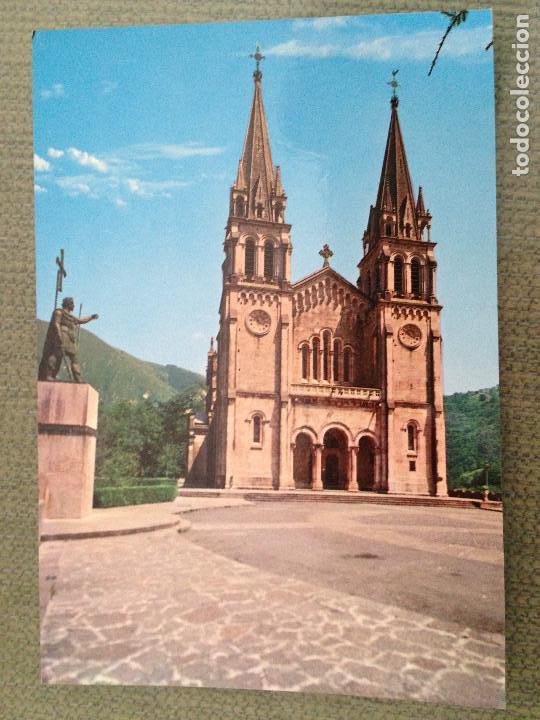 POSTAL COVADONGA ASTURIAS BASILICA Y ESTATUA DEL REY DON PELAYO (Postales - España - Asturias Moderna (desde 1.940))