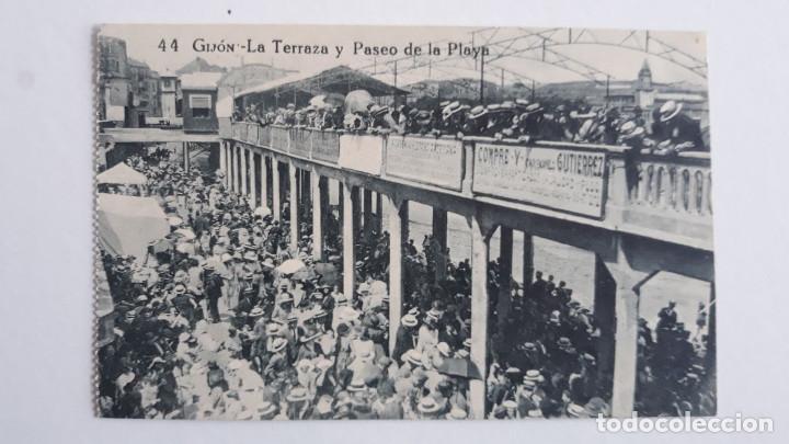 POSTAL GIJON.LA TERRAZA Y PASEO DE LA PLAYA (Postales - España - Asturias Antigua (hasta 1.939))