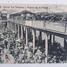 Postales: POSTAL GIJON.LA TERRAZA Y PASEO DE LA PLAYA. Lote 115380723