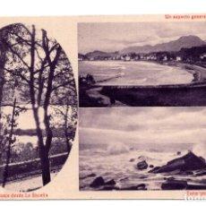 Postales: RIBADESELLA (ASTURIAS).- VISTAS. PAISAJE DESDE LA ENCEÑA, TORMENTA BAJO EL FARO, PLAYA. Lote 119598031