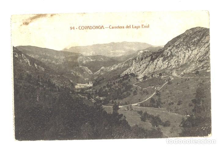 COVADONGA. CARRETERA DEL LAGO DE ENOL (Postales - España - Asturias Antigua (hasta 1.939))
