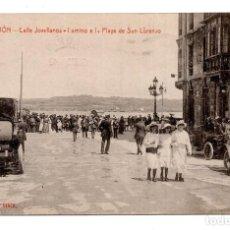 Postales: GIJÓN (ASTURIAS).- CALLE JOVELLANOS. CAMINO A LA PLAYA DE SAN LORENZO. Lote 122651623