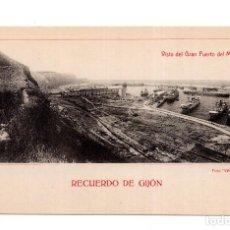 Postales: GIJÓN.- RECUERDO DE GIJÓN - VISTA DEL GRAN PUERTO DEL MUSEL. Lote 124325747