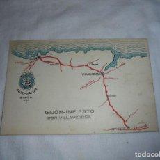 Postales: POSTAL AUTO-SALON GIJON.ITINERARIO GIJON-INFIESTO POR VILLAVICIOSA. Lote 125443135