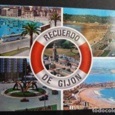 Postales: RECUERDO DE GIJON - POSTAL-. Lote 130379802