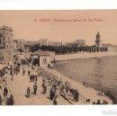 Postales: GIJON. (ASTURIAS).- PESCADERIA E IGLESIA DE SAN PEDRO. ED. F. MATOS.. Lote 131752318
