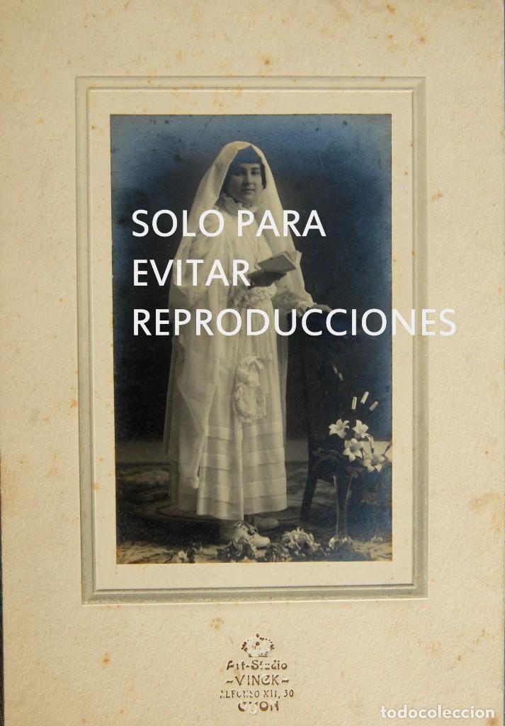 ANTIGUA FOTOGRAFIA POSTAL, NIÑA VESTIDA DE PRIMERA COMUNION, L. VINCK, GIJÓN (Postales - España - Asturias Antigua (hasta 1.939))