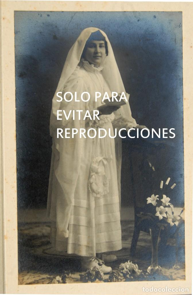 Postales: ANTIGUA FOTOGRAFIA POSTAL, NIÑA VESTIDA DE PRIMERA COMUNION, L. VINCK, GIJÓN - Foto 2 - 134161322