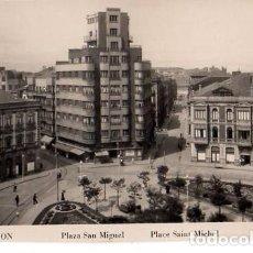 Postales: TARJETA POSTAL DE GIJON. PLAZA SAN MIGUEL. L. ROISIN- FOTO.. Lote 134494618