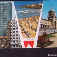 Postales: ASTURIAS-V24-ESCRITA-GIJON-LOS NIETOS-MAR MENOR-PLAYA. Lote 134786930