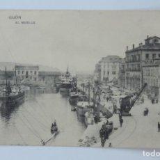 Postales: POSTAL DE GIJON, ASTURIAS, EL MUELLE, FOTOTIPIA DE HAUSER Y MENET, MADRID, NO CIRCULADA.. Lote 135094554